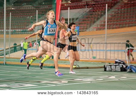 VIENNA, AUSTRIA - JANUARY 31, 2015: Maja Mihalinec (#123 Slovenia) comptes in the women's 60m event during an indoor track and field event.