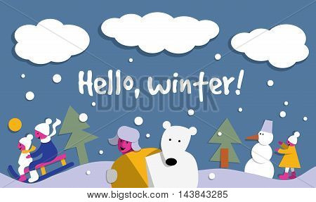 Hello winter snow sign flat card. Color vector illustration. EPS8