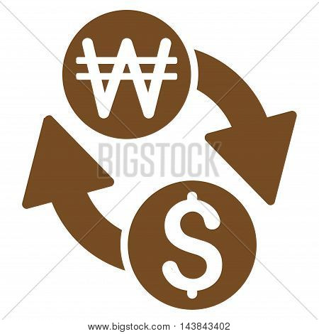 Dollar Korean Won Exchange icon. Vector style is flat iconic symbol with rounded angles, brown color, white background.
