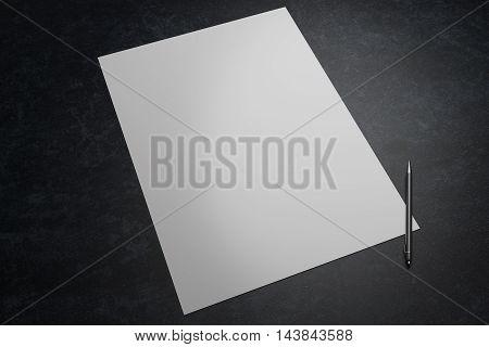 Blank white paper sheet and pen on dark desktop. Mock up 3D Rendering