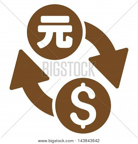Dollar Yuan Exchange icon. Vector style is flat iconic symbol with rounded angles, brown color, white background.