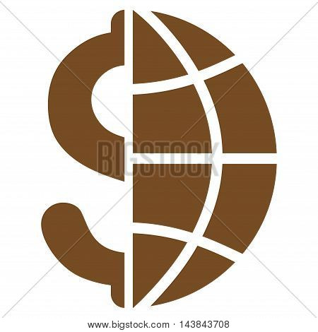Global Business icon. Vector style is flat iconic symbol with rounded angles, brown color, white background.