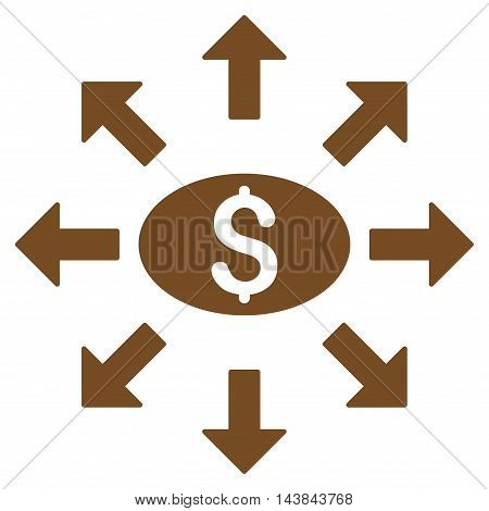 Mass Cashout icon. Vector style is flat iconic symbol with rounded angles, brown color, white background.