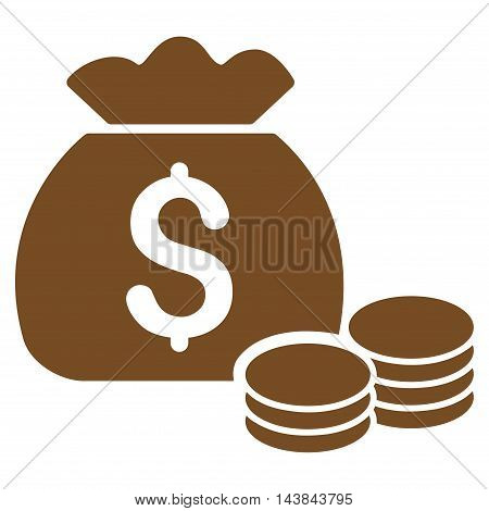 Money Bag icon. Vector style is flat iconic symbol with rounded angles, brown color, white background.