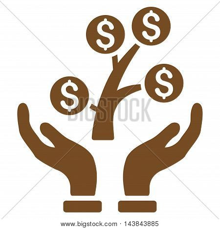 Money Tree Care Hands icon. Vector style is flat iconic symbol with rounded angles, brown color, white background.