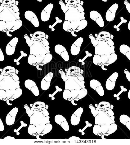 Puppy cute rest sleep relax seamless pattern black and white. Monochrome vector illustration. EPS8