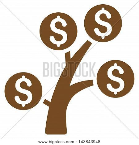 Money Tree icon. Vector style is flat iconic symbol with rounded angles, brown color, white background.