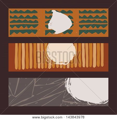 Set of horizontal banners handdrawn decorated with liquid ink brush stripes strokes and spots. Isolated on background vector illustration stylish with imperfect parts in intricate bright colors with circles and triangles