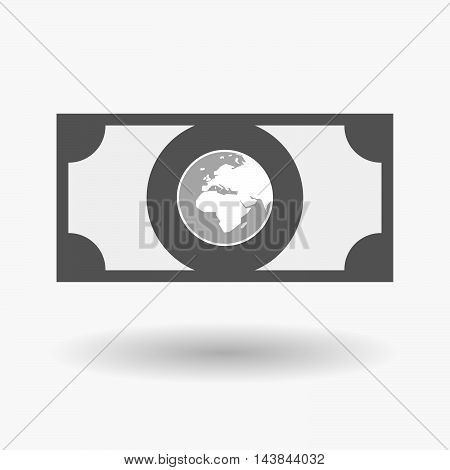 Isolated  Bank Note Icon With   An Asia, Africa And Europe Regions World Globe