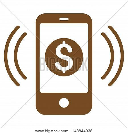 Payment Phone Ring icon. Vector style is flat iconic symbol with rounded angles, brown color, white background.