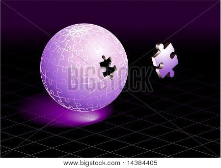 Missing Puzzle Piece on Purple Globe Original Vector Illustration Incomplete Globe Puzzle Ideal for Unity Concept