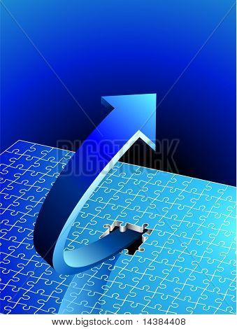 Incomplete Puzzle with Arrow bursting out Original Vector Illustration Incomplete Puzzle Ideal for Business Puzzle
