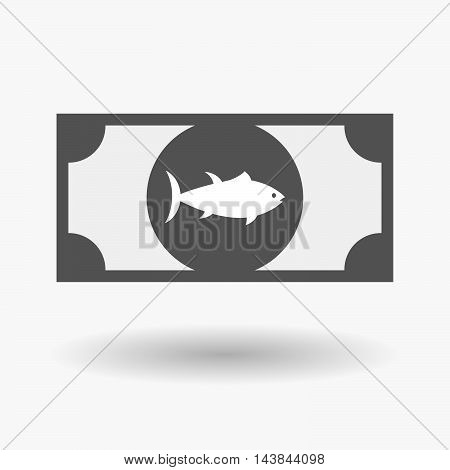 Isolated  Bank Note Icon With  A Tuna Fish
