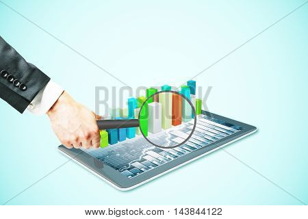 Businessman hand holding magnifier over tablet with voluminous business chart bars. Market analysis concept. Light blue background. 3D Rendering