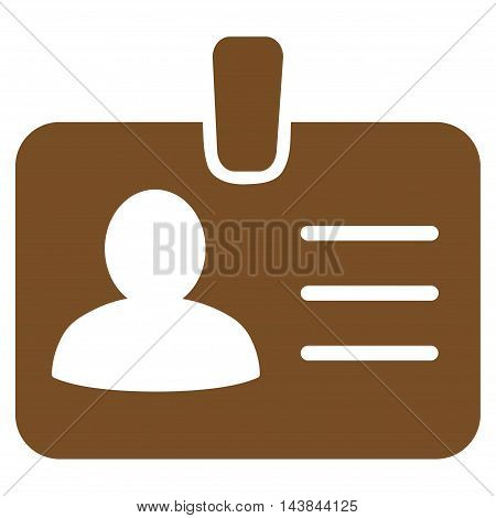 Person Badge icon. Vector style is flat iconic symbol with rounded angles, brown color, white background.