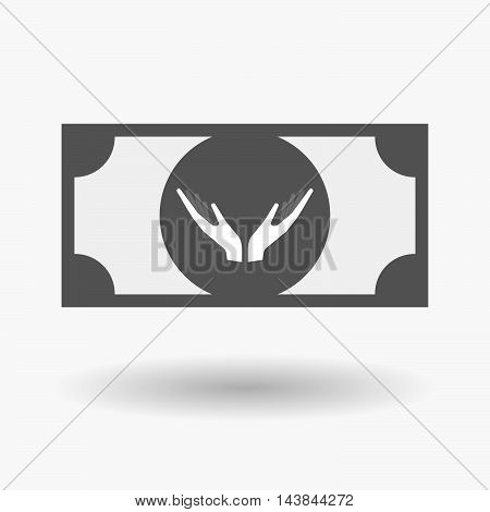 Isolated  Bank Note Icon With  Two Hands Offering
