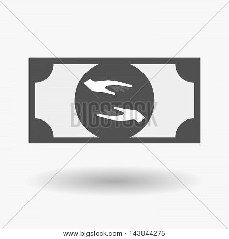 Isolated  Bank Note Icon With  Two Hands Giving And Receiving  Or Protecting