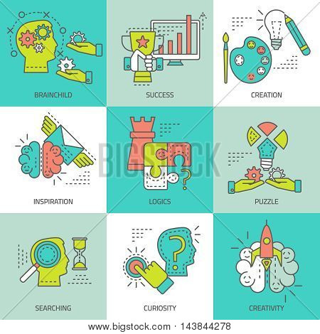 Creative concept colored icons with different activities of human brain during searching of solutions isolated vector illustration