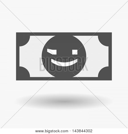 Isolated  Bank Note Icon With  A Wink Text Face Emoticon