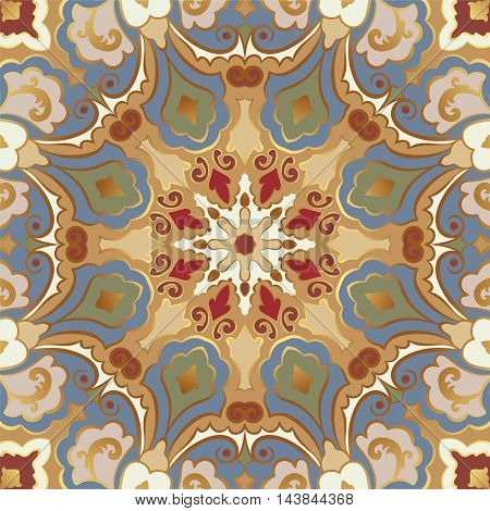 Seamless pattern with round ornament and gold contour.
