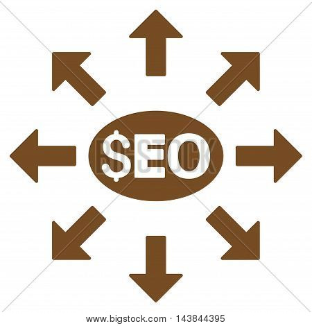 Seo Distribution icon. Vector style is flat iconic symbol with rounded angles, brown color, white background.