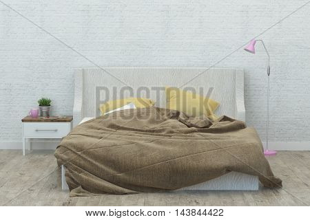 Bedroom in modern style and white walls. 3D Rendering