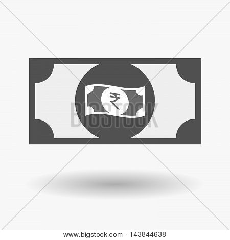 Isolated  Bank Note Icon With  A Rupee Bank Note Icon