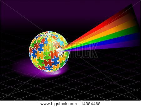 Multi Colored Globe  Original Vector Illustration Globe Puzzle Ideal for Gay Concept
