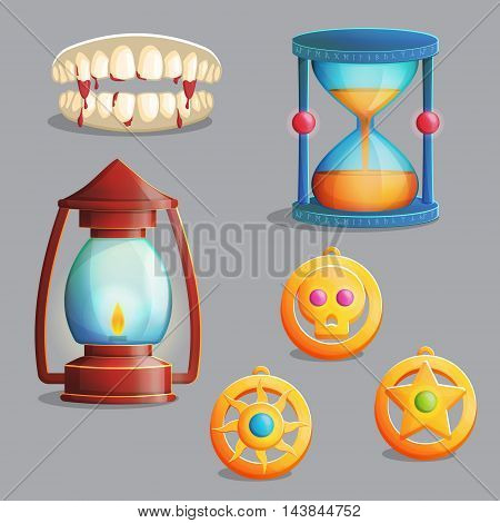 A collection of items for magic witch equipment set. Vampire teeth and pendant amulets, ancient lantern and hourglass, spooky elements for game and app design.