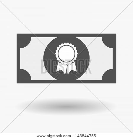 Isolated  Bank Note Icon With  A Ribbon Award