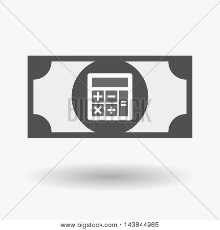 Isolated  Bank Note Icon With  A Calculator