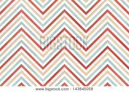 Watercolor Beige, Red And Blue Stripes Background, Chevron.