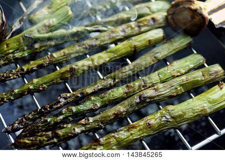 Grilled asparagus, closeup