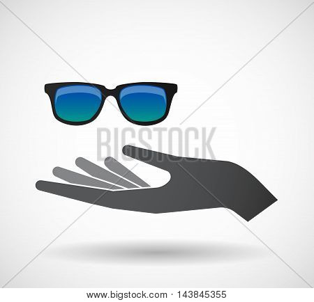 Isolated  Offerign Hand Icon With  A Sunglasses Icon
