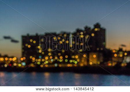 Montevideo Cityscape Scene At Twilight