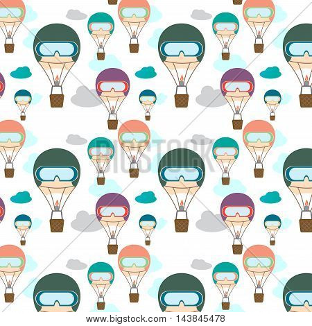 Seamless pattern with clouds and different colors cartoon aerostats humanlike in mask flying in the sky. Flat design. Vector illustration