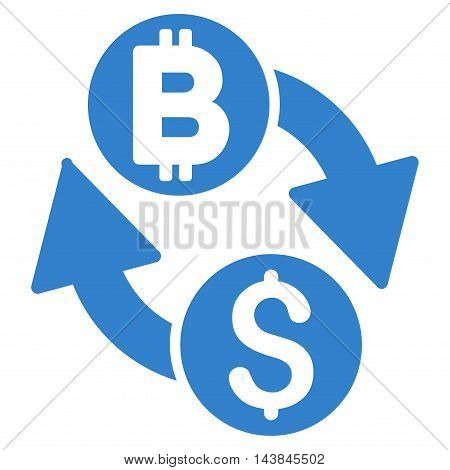 Dollar Bitcoin Exchange icon. Vector style is flat iconic symbol with rounded angles, cobalt color, white background.