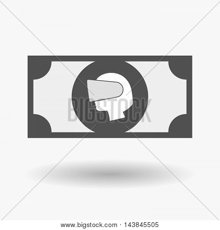 Isolated  Bank Note Icon With  A Female Head Wearing A Virtual Reality Headset