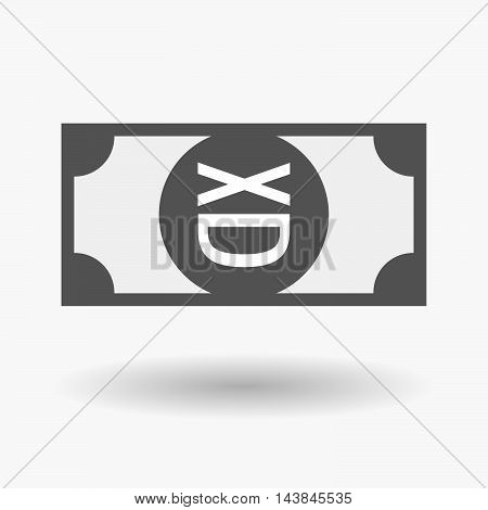 Isolated  Bank Note Icon With   A Laughing Text Face