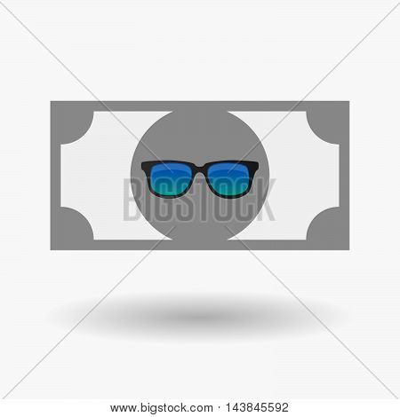 Isolated  Bank Note Icon With  A Sunglasses Icon