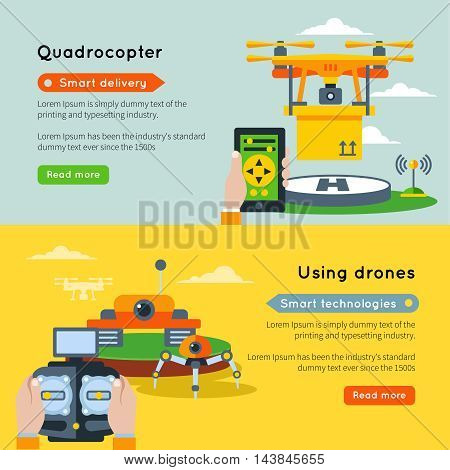 Two horizontal new technologies banner set with quadrocopter smart delivery using drones smart technologies and buttons read more vector illustration
