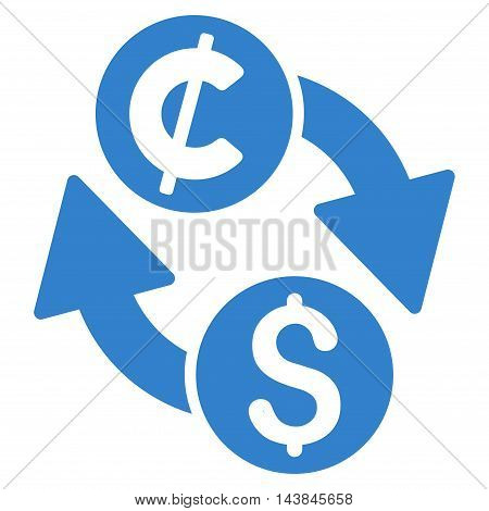 Dollar Cent Exchange icon. Vector style is flat iconic symbol with rounded angles, cobalt color, white background.