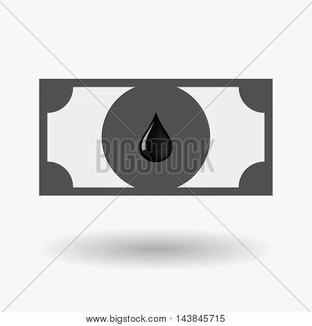 Isolated  Bank Note Icon With  An Oil Drop Icon
