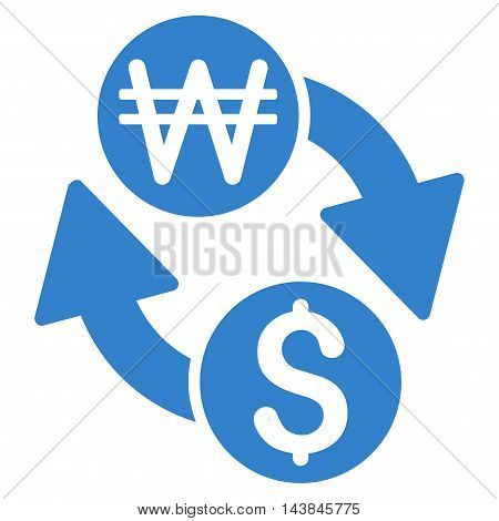 Dollar Korean Won Exchange icon. Vector style is flat iconic symbol with rounded angles, cobalt color, white background.