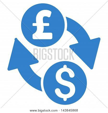 Dollar Pound Exchange icon. Vector style is flat iconic symbol with rounded angles, cobalt color, white background.