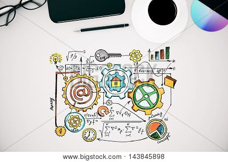 Top view of white desktop with business sketch coffee cup glasses smartphone and other items. 3D Rendering