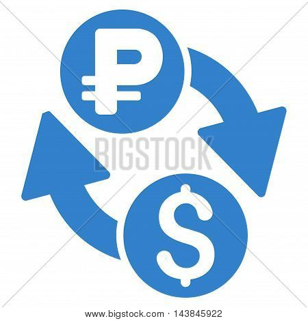 Dollar Rouble Exchange icon. Vector style is flat iconic symbol with rounded angles, cobalt color, white background.