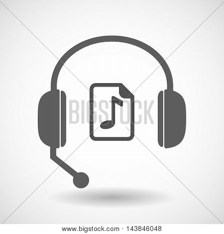 Isolated  Hands Free Headset Icon With  A Music Score Icon