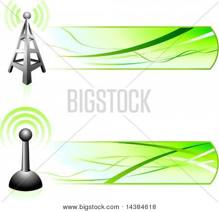 Communication Signal with Banners Original Vector Illustration Banners