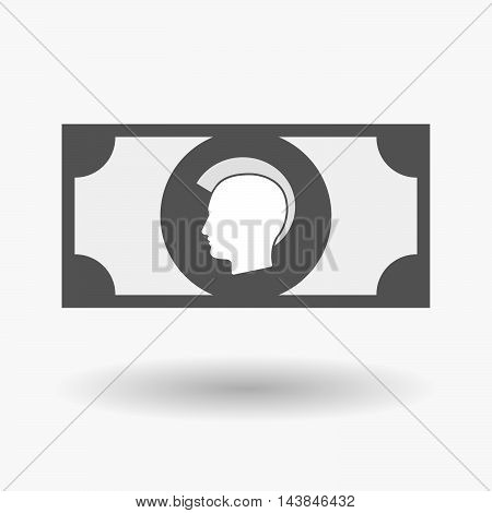Isolated  Bank Note Icon With  A Male Punk Head Silhouette